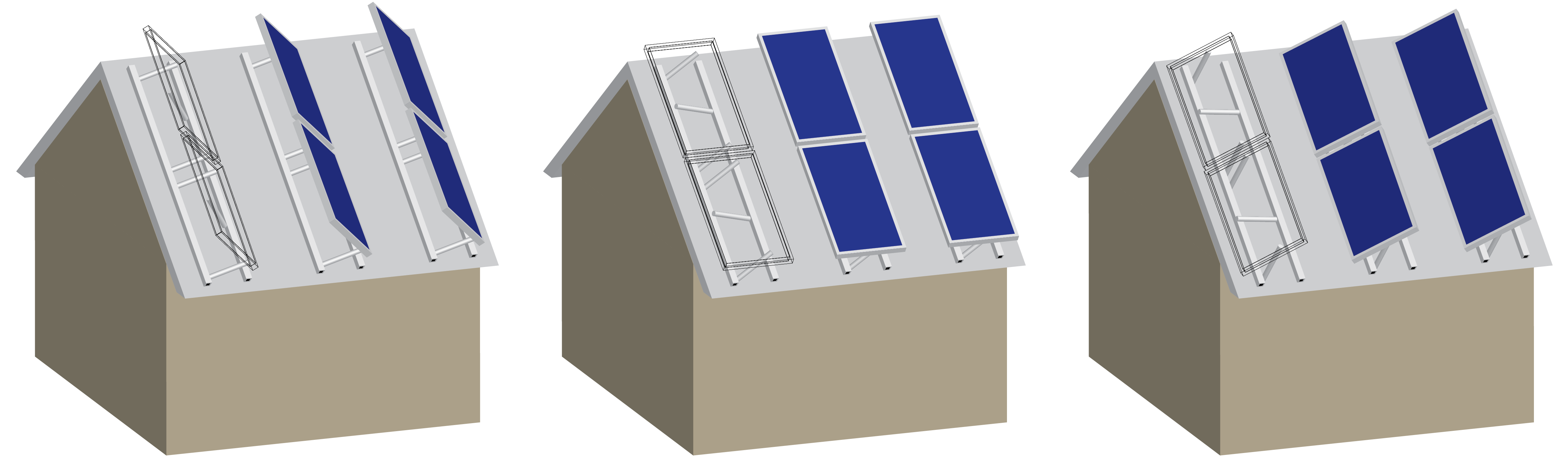 Cartoon schematic of inclined rooftop solar tracker